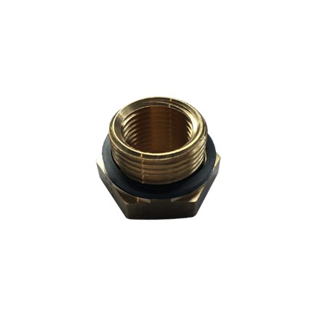 "Brass Threaded Hexagon Reducer 3/4"" BSPP M x 1/2"" BSPP F - Seal"