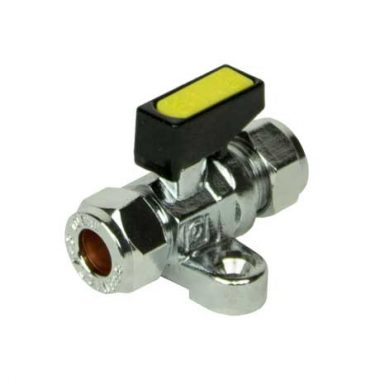 Mini Gas Ball Valve 10mm x 10mm - with Foot Plate